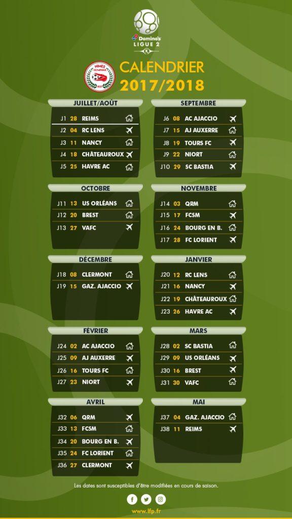 calendrier 2017-2018 Ligue 2